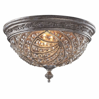 ELK 6232-4 Renaisance Sunset Silver Flush-Mount Crystal Ceiling Fixture