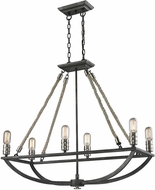 ELK 63055-6 Natural Rope Contemporary Silvered Graphite/Polished Nickel Kitchen Island Lighting