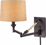 ELK 63060-1 Natural Rope Contemporary Oil Rubbed Bronze Wall Swing Arm Lamp