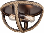 ELK 63062-2 Natural Rope Contemporary Oil Rubbed Bronze Flush Mount Lighting
