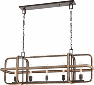 ELK 63067-5 Natural Rope Modern Oil Rubbed Bronze Kitchen Island Light