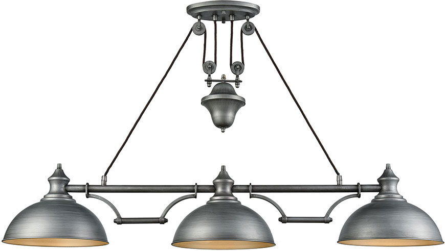 Elk 65163 3 Farmhouse Weathered Zinc Kitchen Island Light Fixture Elk 65163 3