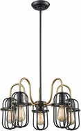 ELK 65217-5 Binghamton Oil Rubbed Bronze,Satin Brass Lighting Chandelier