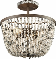 ELK 65304-3 Agate Stones Contemporary Weathered Bronze Flush Mount Lighting