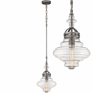 ELK 66168-1 Gramercy Contemporary Weathered Zinc Mini Hanging Lamp
