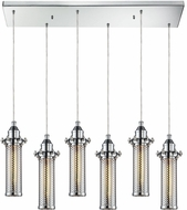 ELK 66315-6RC Fulton Contemporary Polished Chrome Multi Hanging Pendant Lighting