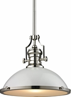 ELK 66516-1 Chadwick Modern Gloss White/Polished Nickel Pendant Lighting