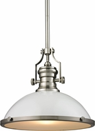 ELK 66526-1 Chadwick Contemporary Gloss White/Satin Nickel Pendant Lamp