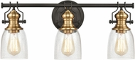 ELK 66686-3 Chadwick Modern Oil Rubbed Bronze / Satin Brass 3-Light Bathroom Wall Sconce
