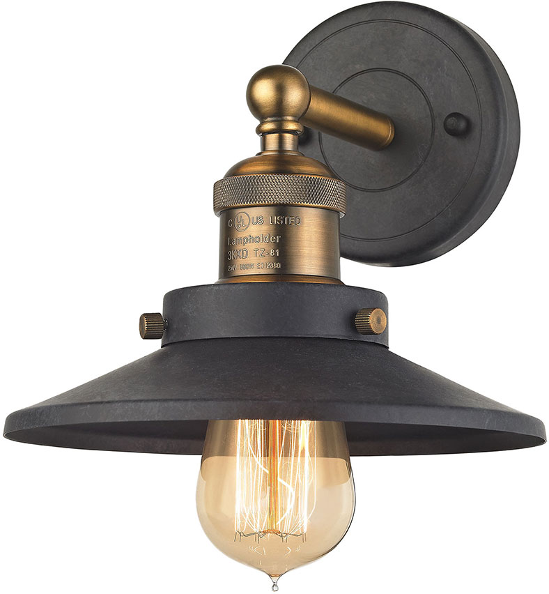 Elk 67180 1 English Pub Contemporary Antique Brass Tarnished Graphite Wall Sconce Light Loading Zoom