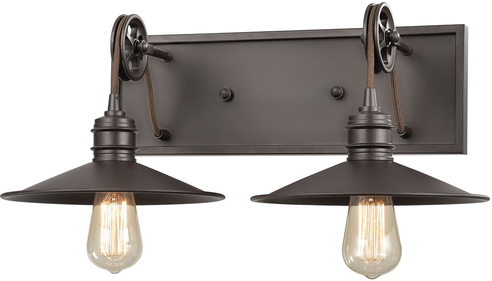 Elk 69085 2 Spindle Wheel Contemporary Oil Rubbed Bronze Light Bathroom Wall Sconce