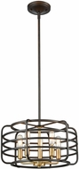 ELK 81315-5 Capistrano Modern Oil Rubbed Bronze / Satin Brass 16  Drum Hanging Lamp