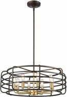 ELK 81316-8 Capistrano Contemporary Oil Rubbed Bronze / Satin Brass 24  Drum Hanging Light