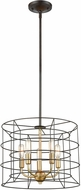 ELK 81385-5 Dayton Modern Oil Rubbed Bronze / Satin Brass 16  Drum Drop Lighting