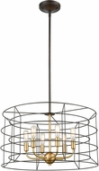 ELK 81386-6 Dayton Contemporary Oil Rubbed Bronze / Satin Brass 22  Drum Drop Ceiling Lighting