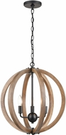 ELK 81405-3 Barrow Contemporary Birchwood / Matte Black 18  Hanging Lamp