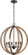 ELK 81406-6 Barrow Modern Birchwood / Matte Black 22  Hanging Light