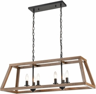 ELK 81417-6 Barrow Modern Birchwood / Matte Black Island Light Fixture
