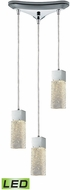 ELK 85107-3LED Cubic Ice Contemporary Polished Chrome LED Multi Drop Lighting