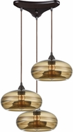 ELK 85212-3 Hazelton Contemporary Oil Rubbed Bronze Multi Pendant Hanging Light