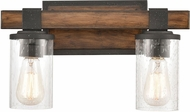 ELK 89131-2 Crenshaw Contemporary Ballard Wood / Distressed Black 2-Light Bathroom Light Sconce