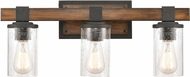 ELK 89132-3 Crenshaw Modern Ballard Wood / Distressed Black 3-Light Bathroom Lighting Sconce