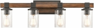 ELK 89133-4 Crenshaw Contemporary Ballard Wood / Distressed Black 4-Light Bathroom Sconce Lighting