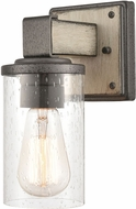 ELK 89140-1 Crenshaw Modern Anvil Iron / Distressed Antique Graywood Wall Light Sconce