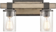 ELK 89141-2 Crenshaw Modern Anvil Iron / Distressed Antique Graywood 2-Light Bath Lighting Sconce
