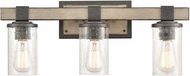 ELK 89142-3 Crenshaw Modern Anvil Iron / Distressed Antique Graywood 3-Light Bathroom Wall Light Fixture