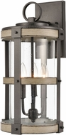 ELK 89146-3 Crenshaw Modern Anvil Iron / Distressed Antique Graywood Outdoor 10  Wall Sconce Light