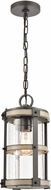 ELK 89147-1 Crenshaw Modern Anvil Iron / Distressed Antique Graywood Exterior Drop Ceiling Light Fixture