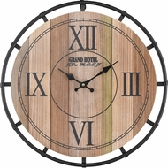 ELK Home 351-10745 Torino Natural Wood Tone Veneer / Black Wall Mounted Clock