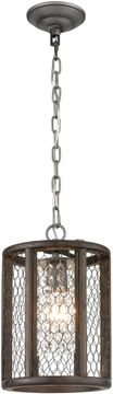 ELK Home D4327 Renaissance Invention Weathered Zinc / Aged Wood Mini Ceiling Light Pendant