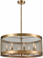 ELK Home D4333 Line In The Sand Modern Satin Brass / Antique Silver Drum Ceiling Pendant Light