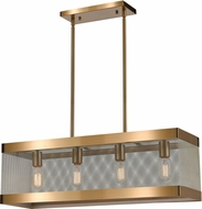 ELK Home D4334 Line In The Sand Contemporary Satin Brass / Antique Silver Island Light Fixture