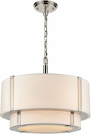 ELK Home D4343 Rudolfo White / Polished Nickel Drum Drop Ceiling Light Fixture
