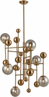 ELK Home D4363 Ballantine Modern Aged Brass / Smoked Glass Chandelier Lighting