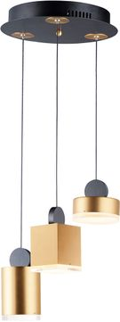 ET2 E20863-75BKGLD Nob Contemporary Black / Gold LED Multi Pendant Lighting Fixture