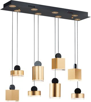 ET2 E20867-75BKGLD Nob Contemporary Black / Gold LED Multi Hanging Pendant Light