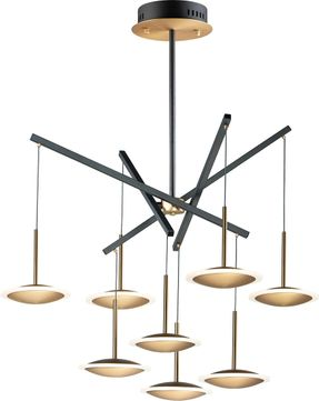 ET2 E21548-90BKGLD Saucer Modern Black / Gold LED Multi Hanging Lamp