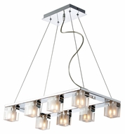 ET2 E22036-18 Blocs 8 Lamp 11 Inch Wide Contemporary Style Polished Chrome Hanging Light Fixture