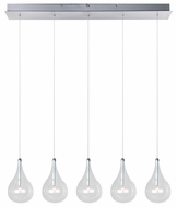 ET2 E23115-18 Larmes Contemporary Long Five Light Multi Pendant