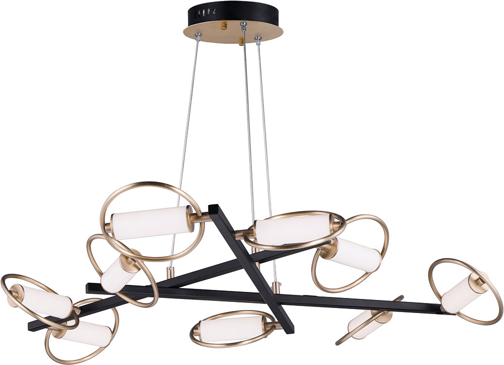 Et2 E23279 93bksftg Flare Contemporary Black Soft Gold Led 44 Lighting Chandelier