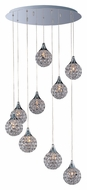 ET2 E24020-20PC Brilliant 9 Lamp Crystal 21 Inch Diameter Round Canopy Multi Pendant Lamp