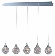 ET2 E24025-20PC Brilliant 5 Lamp 7 Inch Wide Polished Chrome Linear Multi Pendant Light