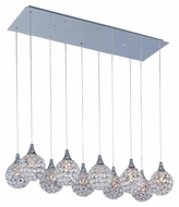 ET2 E24028-20PC Brilliant Crystal 10 Lamp 33 Inch Wide Polished Chrome Multi Pendant Lighting Fixture