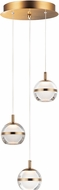 ET2 E24593-93NAB Swank Contemporary Natural Aged Brass LED Multi Hanging Light Fixture