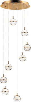 ET2 E24598-93NAB Swank Contemporary Natural Aged Brass LED Multi Drop Ceiling Lighting