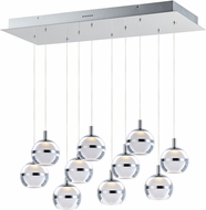 ET2 E24599-93PC Swank Modern Polished Chrome LED Multi Pendant Lamp
